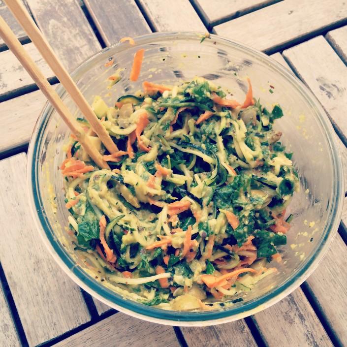 Cukinové špagety s mrkvou a špenátom